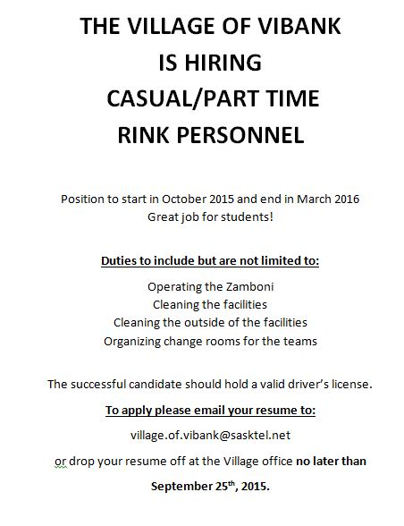 RINK PERSONNEL NEEDED