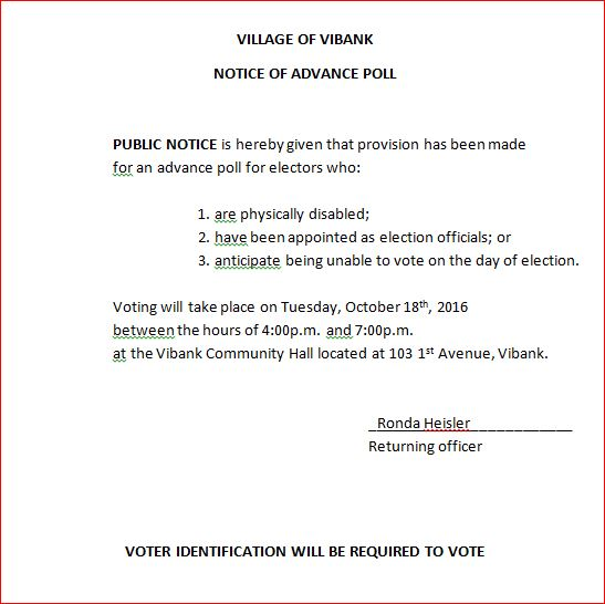 Notice of Advance Poll
